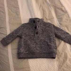Sweater fleece mock neck with buttons